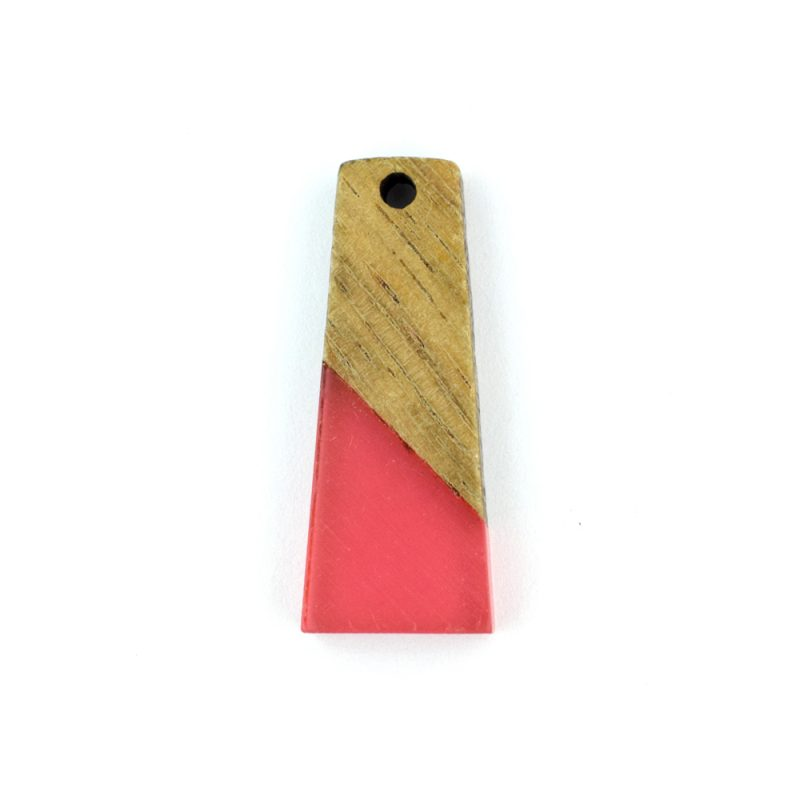 31mm trapezium resin and wood fuchsia pendant