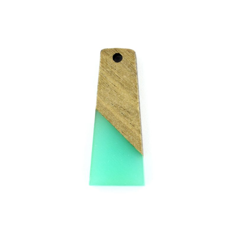 31mm trapezium resin and wood pendant