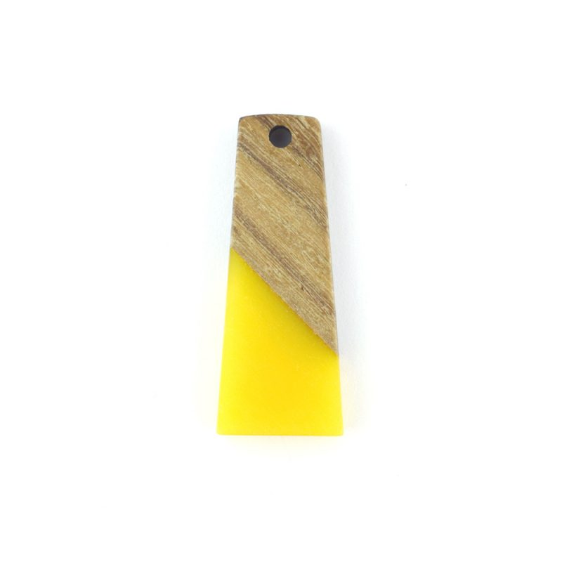 31mm trapezium resin and wood yellow pendant