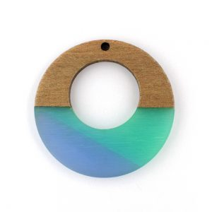 Resin and wood colourful pendant