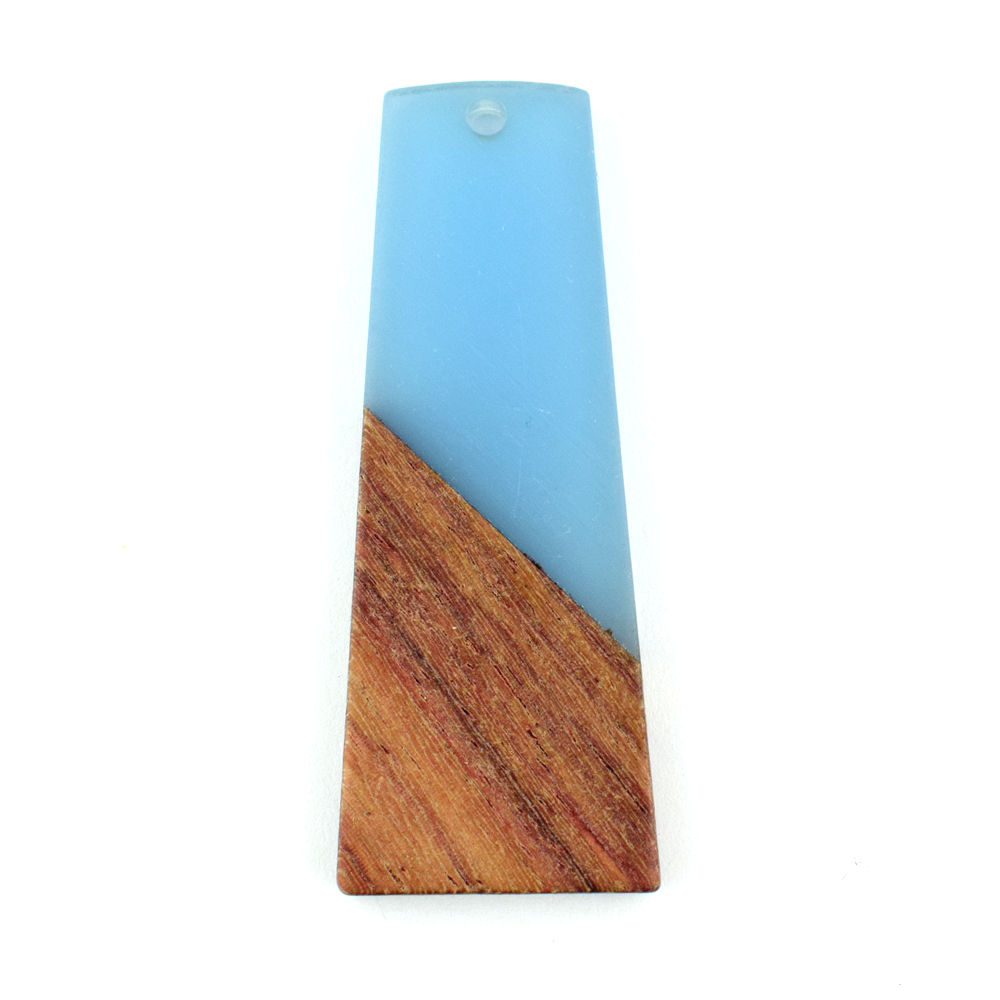 49mm blue trapezium resin and wood pendant