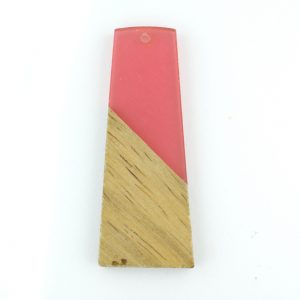 49mm Fuchsia trapezium resin and wood pendant