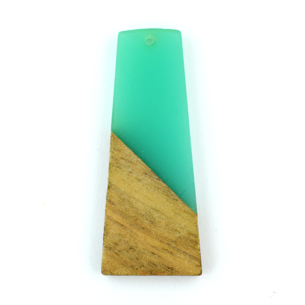 49mm turquoise trapezium resin and wood pendant