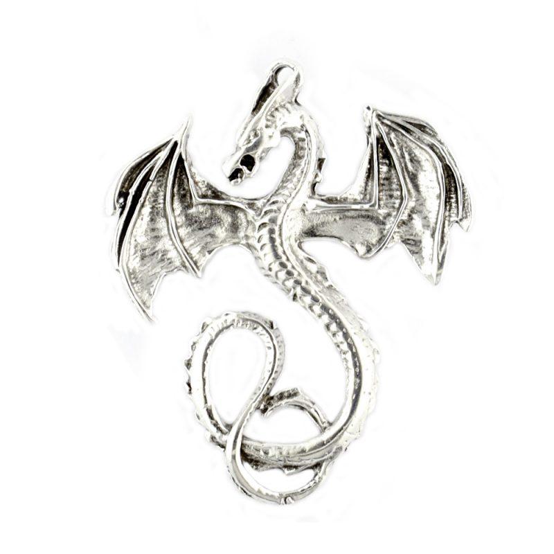 Large Dragon Charm Antique Silver