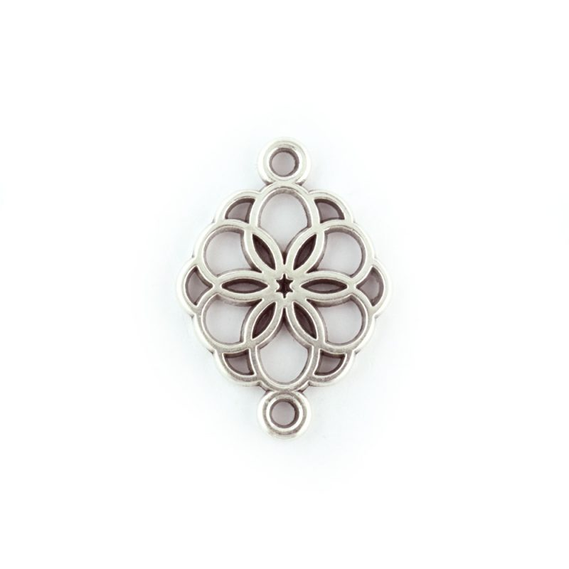 Flower Connector antique silver charm
