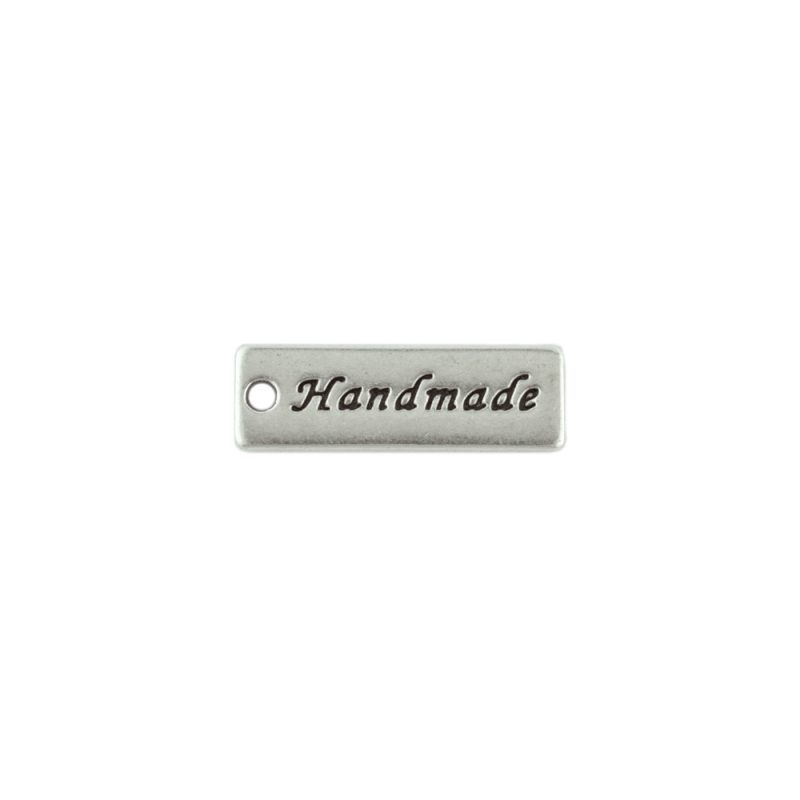 Handmade tag charm antique silver