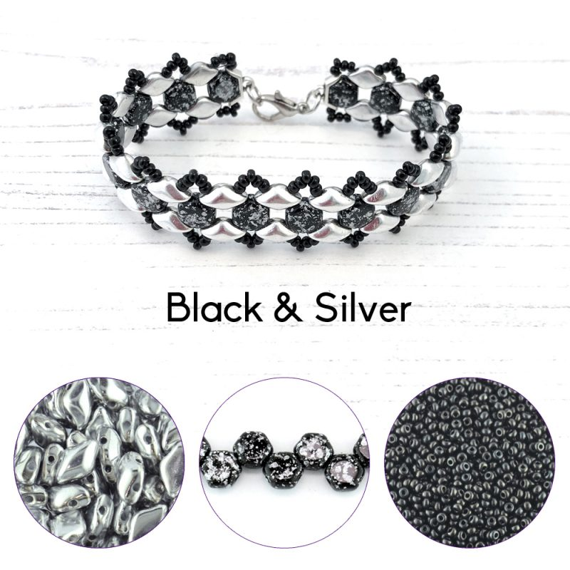 black and silver honey ripple bracelet