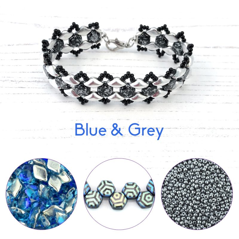 Blue and grey honey ripple bracelet