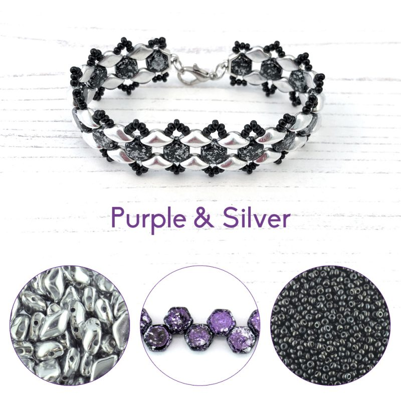 Purple and silver honey ripple bracelet