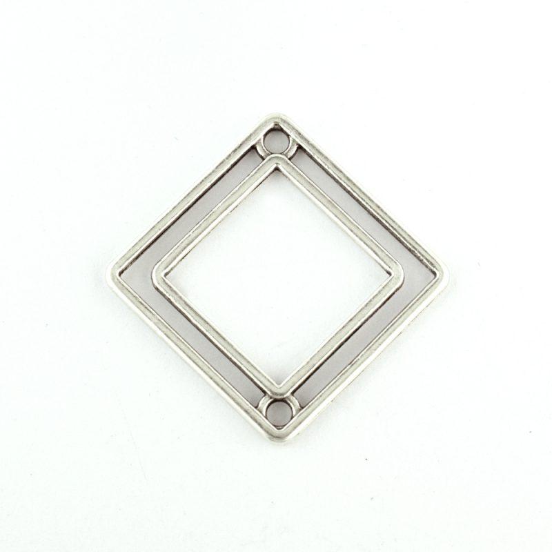 Rhombus connector antique silver