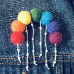 Needle felted Rain bow brooch