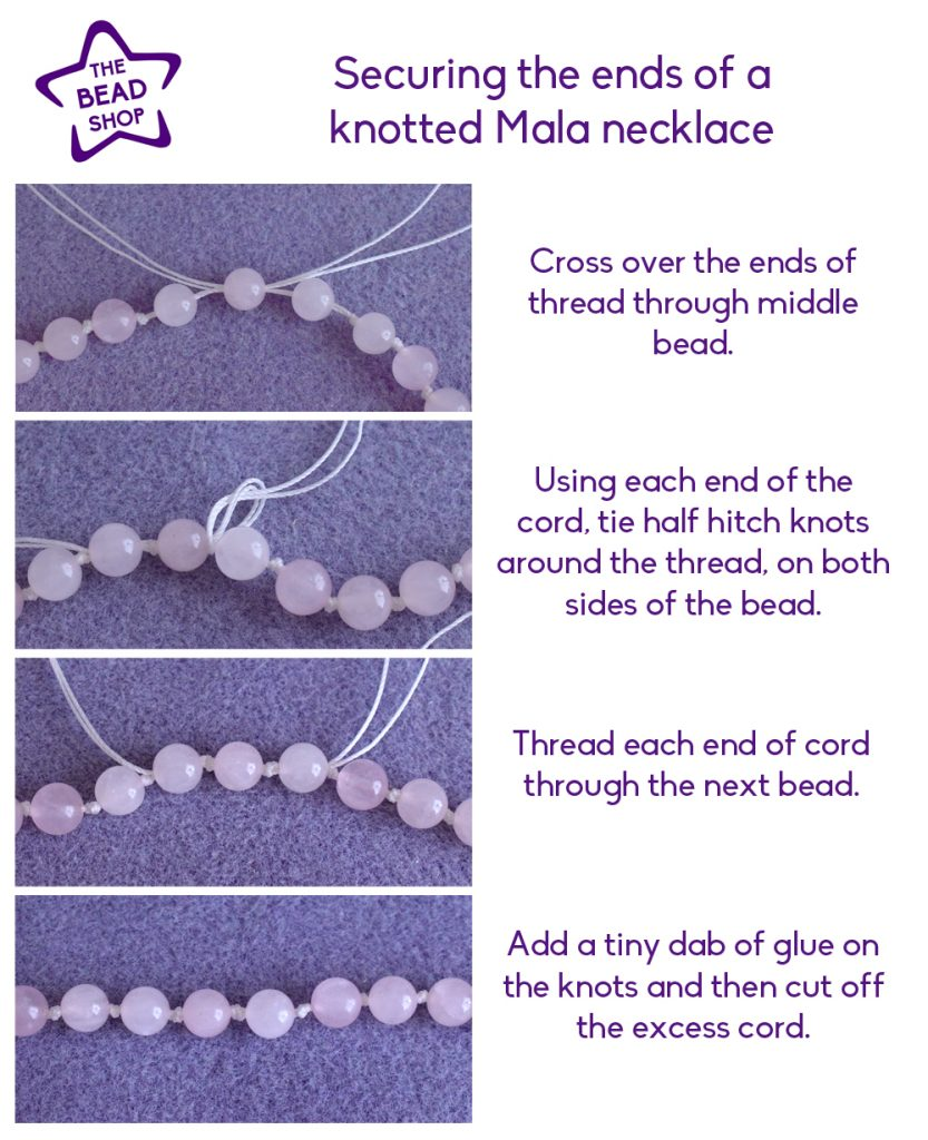 Finishing a Mala bead Necklace