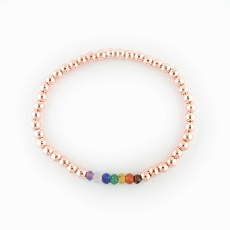 Chakra Bracelet rose gold Plated Hematite - The Bead Shop