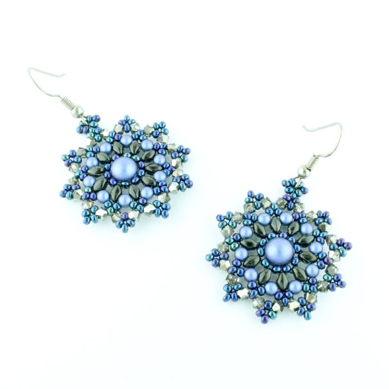 Mini Mandala Blue Earrings Virtual Workshop