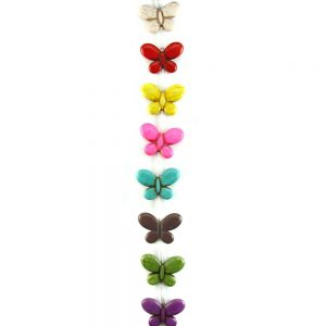 Dyed rainbow howlite butterfly beads
