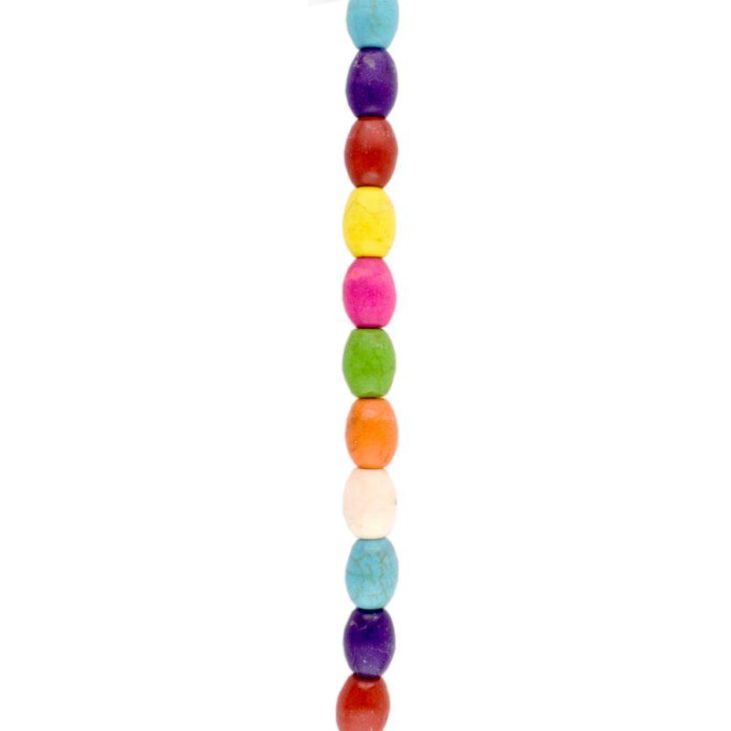 Dyed rainbow howlite oval beads