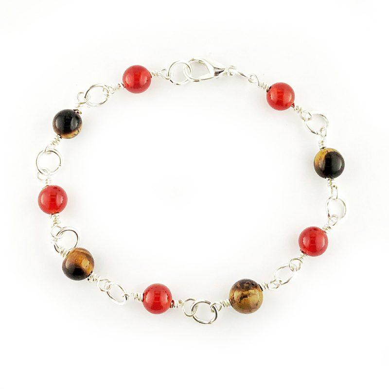 Semi-precious gemstone linked bracelet