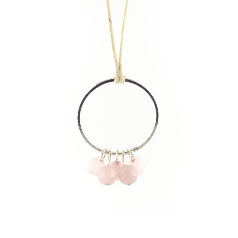 Semi precious Rose Quartz Cluster Necklace