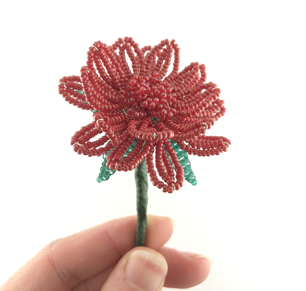 Completed French Beaded Gerbera Daisy