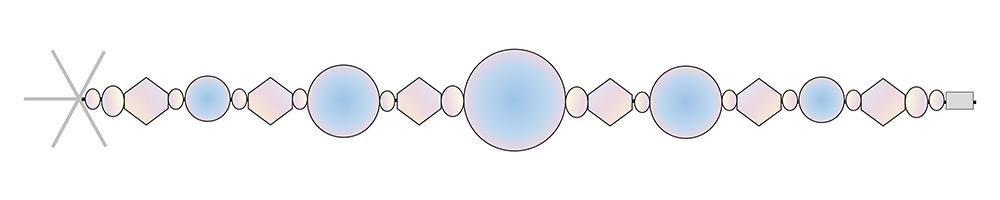 Snowflake decoration diagram showing bead placement