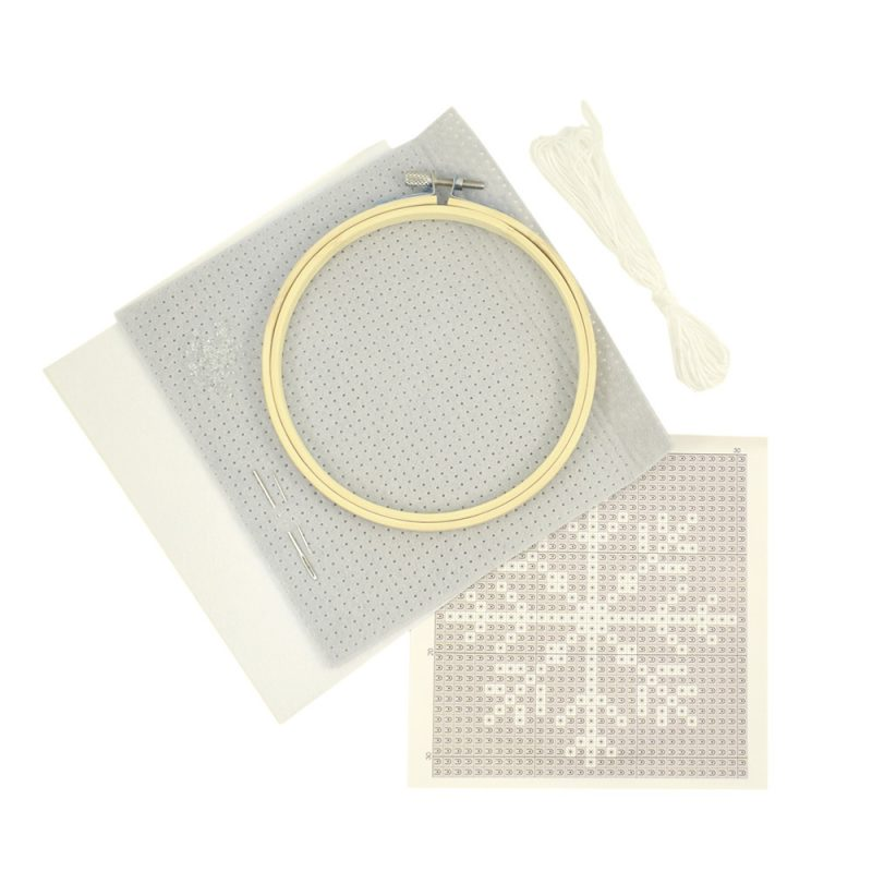 Felt cross stitch snowflake design