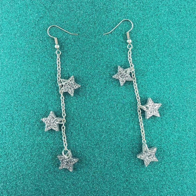 Glittery star earrings