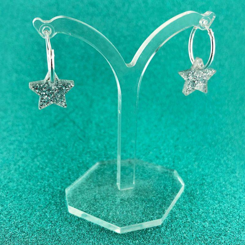 Glittery star hoop earrings