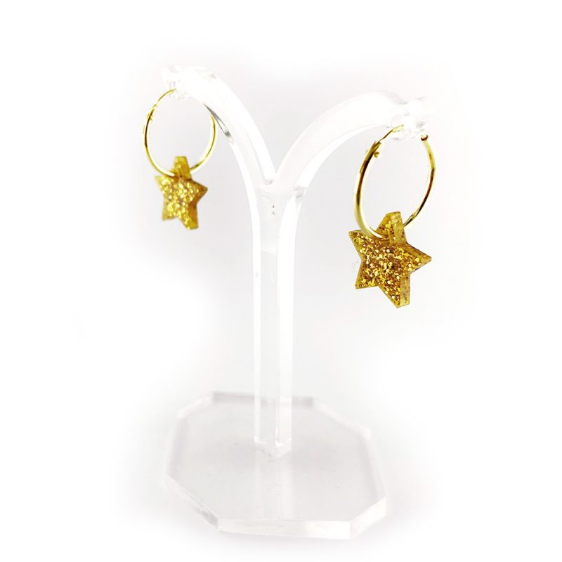 gold hoop earring with star decorations