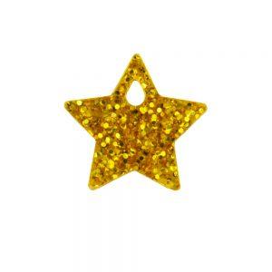 Small gold glittery acrylic star charm