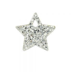 Small silver glittery acrylic star charm