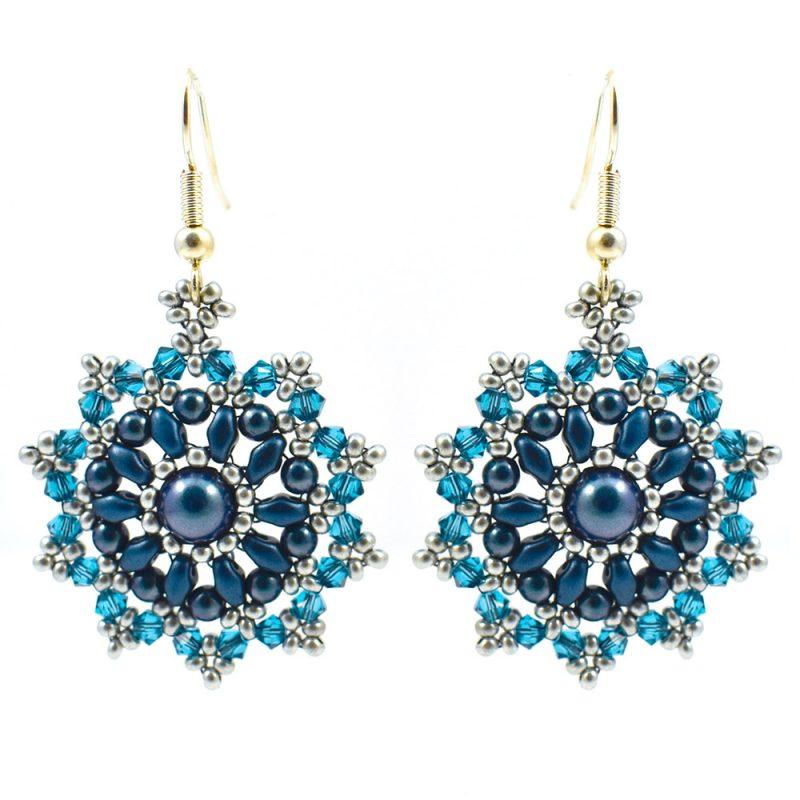 Mini Mandala teal earring kit