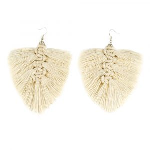 cream macrame feather earrings kit