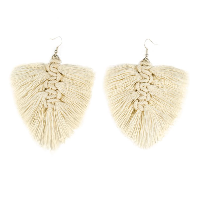 cream macrame feather earrings kit