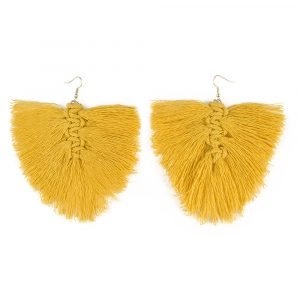 Mustard yellow macrame feather earrings kit