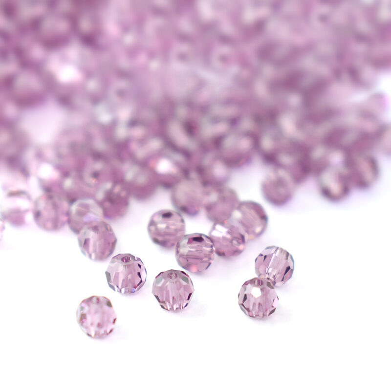 3mm light amethyst round faceted simple crystal beads from preciosa
