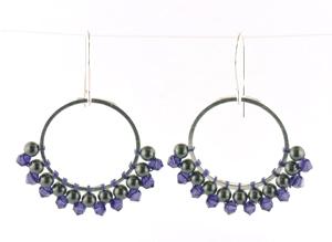 brick stitch around a link earrings