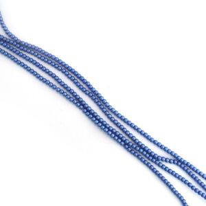 2mm matte blue czech glass pearl beads