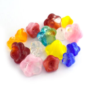 glass flower bead mix