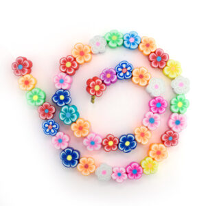 string of polymer clay flower beads