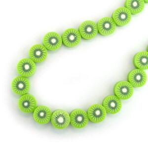 string of polymer clay kiwi beads