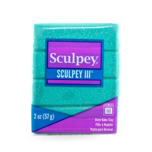 sculpey III turquoise glitter
