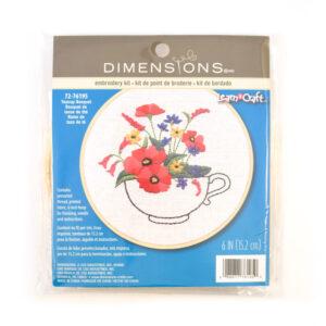 teacup bouquet cross stitch kit