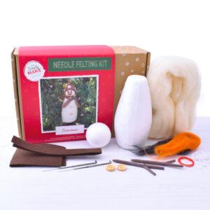 christmas snowman needle felting kit