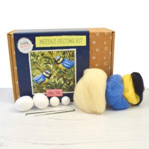 blue tit needle felting kit contents