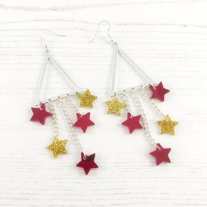 Star of the Show Earrings - Red & gold